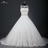 RSW951 Illusion Neckline China Lace Ball Gown Wedding Dresses