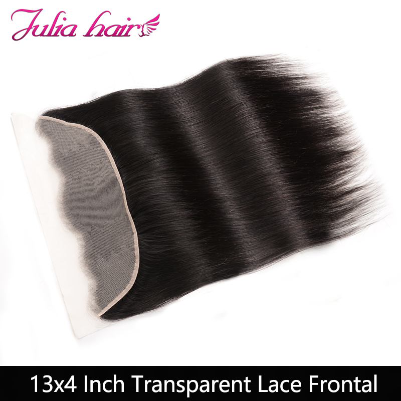 Ali Julia Hair 13''*4'' Transparent Frontal Brazilian Straight Remy Human Hair 10''-20'' Free Part 130% Density Natural Color(China)