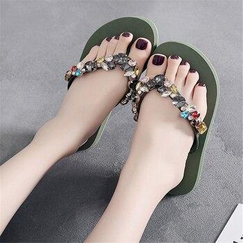 JIANBUDAN/ Women's flat comfortable beach shoes Non-slip soft bottom Casual flip flops Rhinestone decoration Summer flat slipper 2