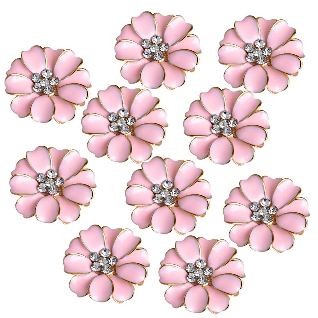 10pcs Metal Rhinestone Buttons Flower Flatback Wedding Embellishments Pink