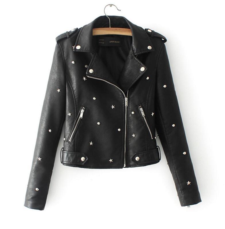 JOYINPARTYPU leather   jacket   coat female rivets   jackets   zipper   basic     jackets   artificial leather coat autumn winter   jacket   female
