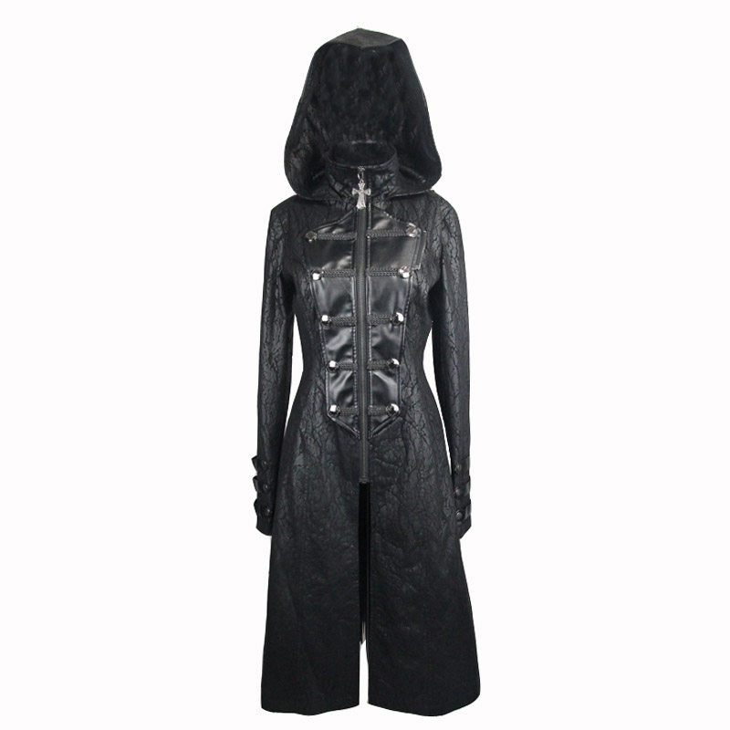 Cuir Gothique Manteaux Capuche Beau En Avec À Noir Punk Les Faux Détachable De Châles Femmes Mode Vestes Longs Pour Diable qx1gfOq