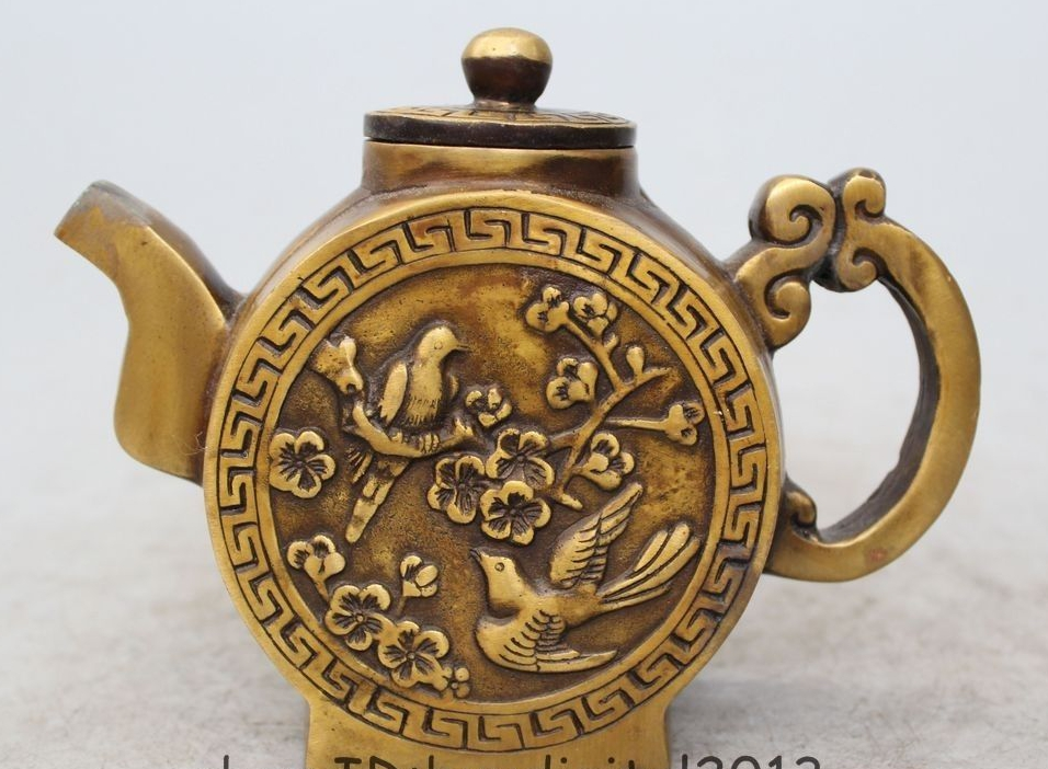 Chinese Folk Bronze lucky Auspicious Dragon Phoenix Wine Tea Pot Flagon Marked