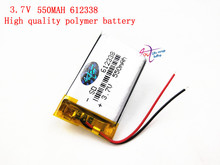 (1pieces/lot) Free shipping 3.7V lithium polymer battery 612338 062238 MP3 DIY Speaker millet Bluetooth 550MAH