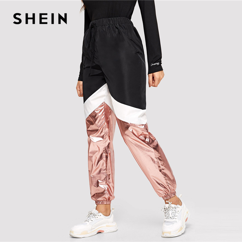 SHEIN Multicolor Cut and Sew Metallic Panel Sweatpants Drawstring Colorblock Mid Waist Athleisure 2019 Women Casual Trousers 1
