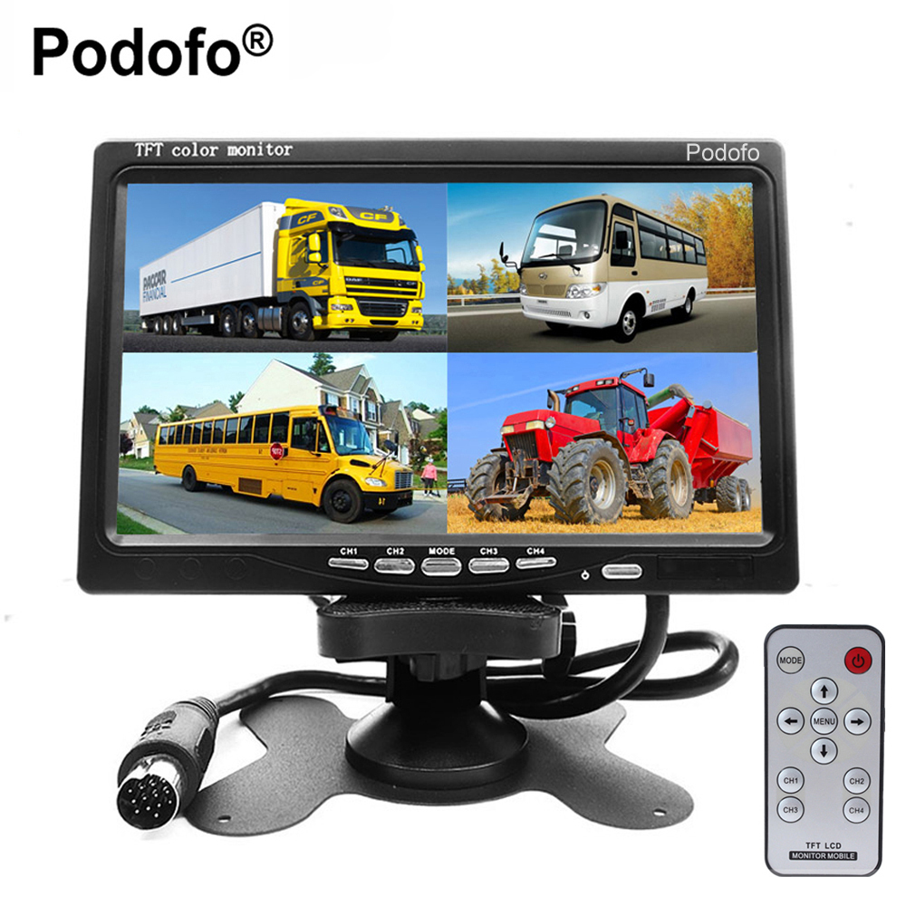 Podofo 7 Split Quad Monitor TFT LCD Monitor Video Input PC Audio Video Display, Front Rear Side View Camera Display Car-styling diysecur 4pin dc12v 24v 7 inch 4 split quad lcd screen display rear view video security monitor for car truck bus cctv camera