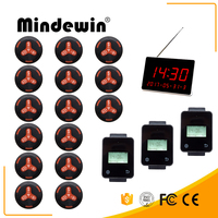 Mindewin Wireless Calling Paging System 3 Touch Watch Receiver +1 LED Display +15 Black Call Button For Restaurant & Fast Food