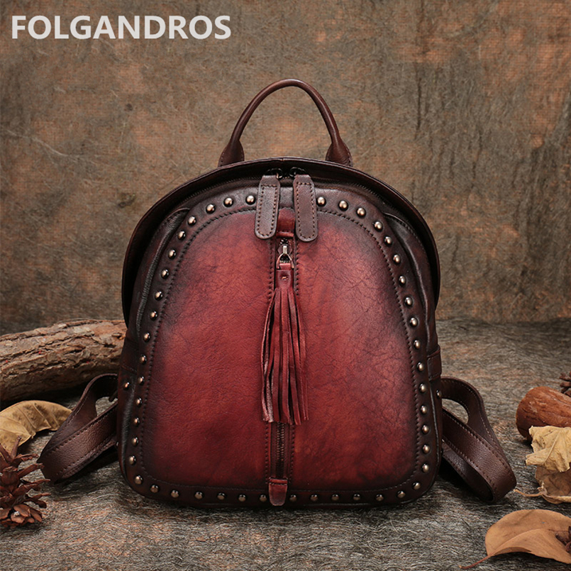 2018 Women Soft Handle Backpack Vintage Rivet Genuine Leather Knapsack Designer Handmade School Book Bag Classic Tassel Backpack