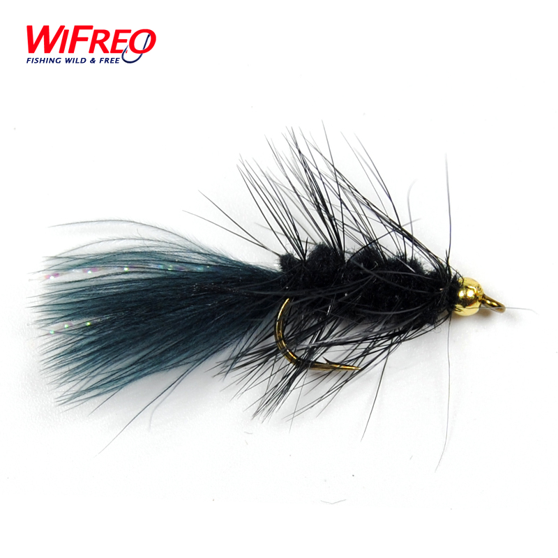 10PCS Wifreo 8# Streamer Woolly Bugger Fly Black Color with Crystal Flash Tail Golden Head Free Box бас гитару warwick streamer