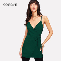 COLROVIE Green Double V Neck Longline Wrap Cami Top Summer Backless Asymmetrical Camisole 2018 Elegant Plain