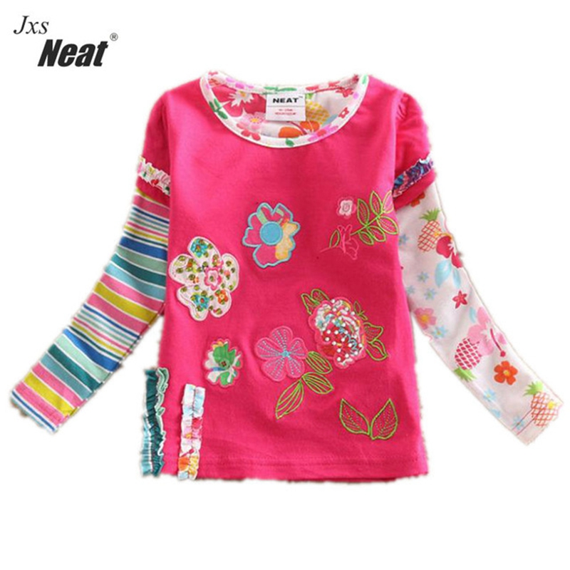 Girl baby long-sleeved T-shirt 2017 clearance cotton embroidery flowers girl wearing a long-sleeved T-shirt for children L326