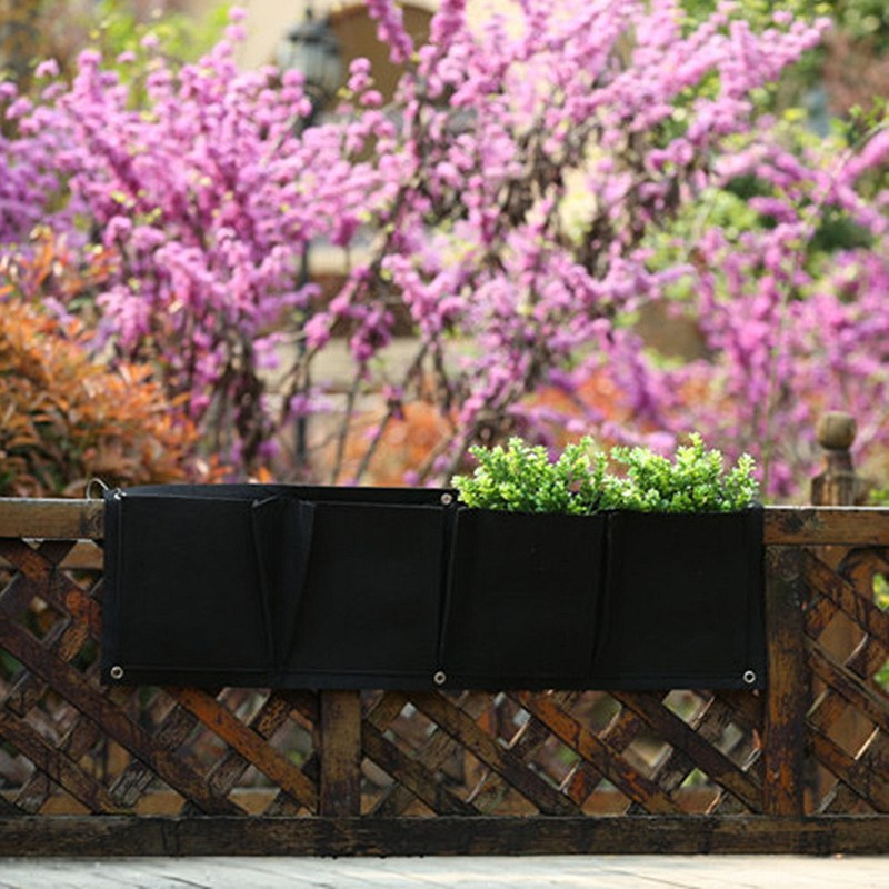 New Arrival Low Price Outdoor Vertical Gardening Non Woven Hanging Wall  Garden 4 Planting Bags Seedling