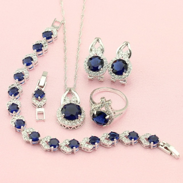 WPAITKYS Silver Color Jewelry Sets For Women Created Sapphire Bijouterie Earring Pendant Necklace Ring Bracelet Free Jewelry Box