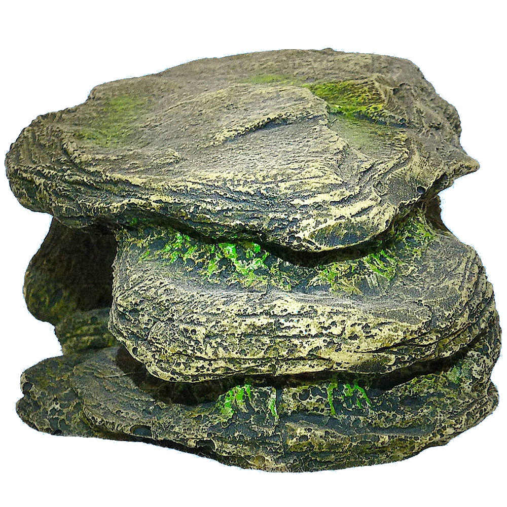 1PC Resin Aquarium Turtle Hiding Tank Cave Decoration Reptile Amphibians Climbing Platform Basking Island Stone Rock