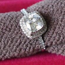 6*6 мм основной камень 1CT имитированный алмаз обручальное кольцо Halo проложили около 14 к белое золото ювелирные изделия полу крепление подлинный бренд на заказ
