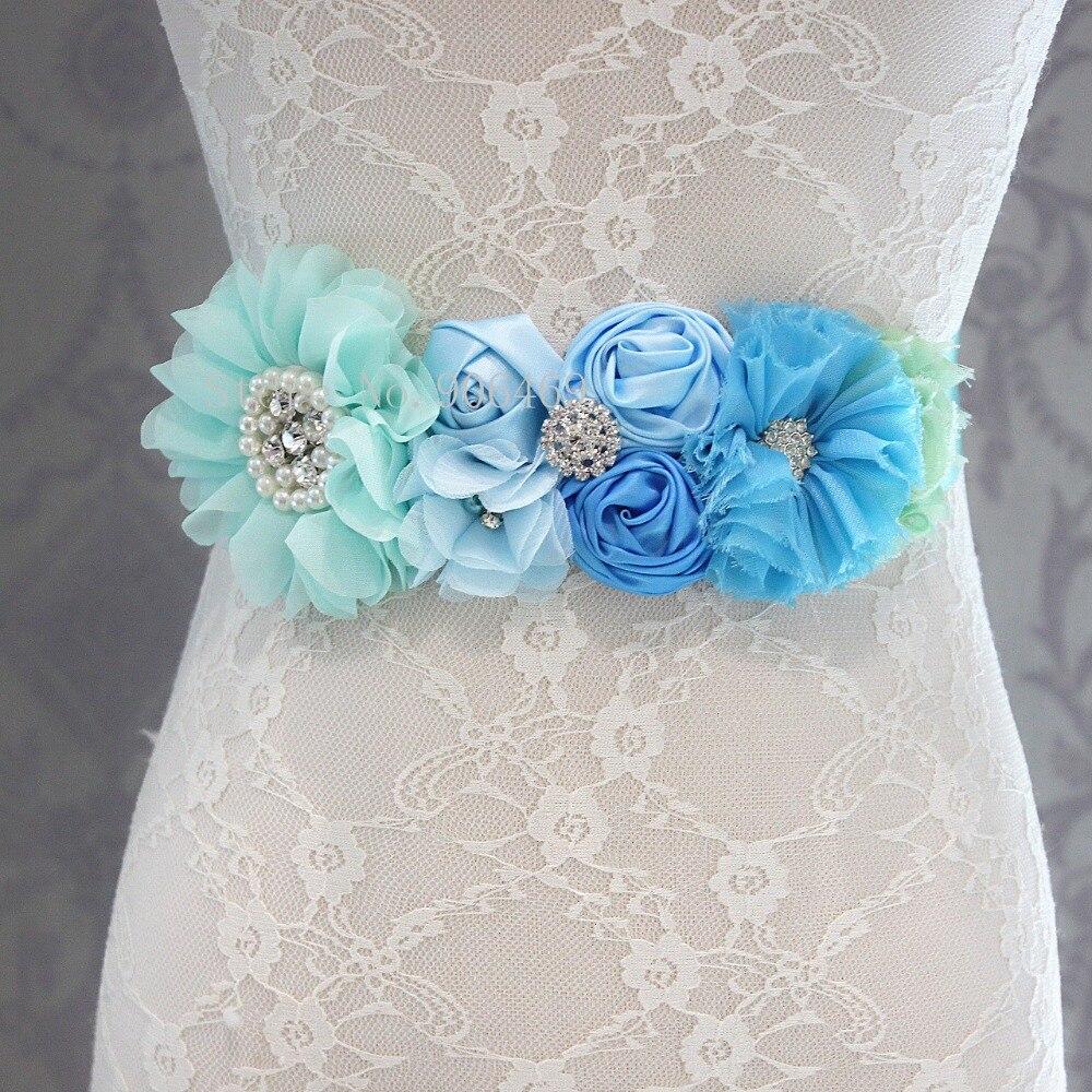 Fashion Blue flower   Belt   Wedding Sashes   belt   with flower headband Girl Woman sash   belt