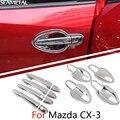Para Mazda CX-3 CX3 2015-2017 Tigela Porta Do Carro Tampa Alça Cromada Guarnição Chromium Styling Decoração Exterior Acessórios Do Carro-styling