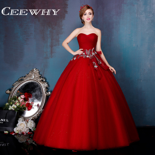 CEEWHY Bow Crystal Evening Dress Beading Sweetheart Ball Gown ...