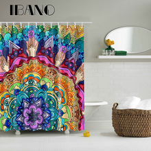 Vintage Mandala Pattern Shower Curtain Waterproof Polyester Fabric Curtain For The Bathroom With 12PCS Plastic Hooks animal pattern shower curtain with 12pcs hook