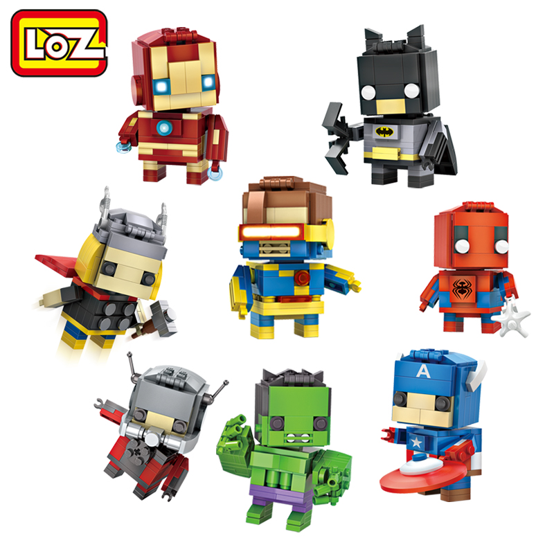 LOZ Mini Super Hero font b Blocks b font Batman Captain America Thor Iron Brick Heads