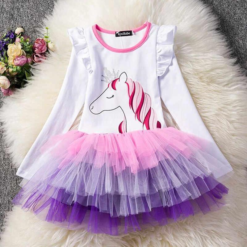 7f7606bb42d Нарядное платье с длинными рукавами с единорогом для маленьких девочек 3-8  лет