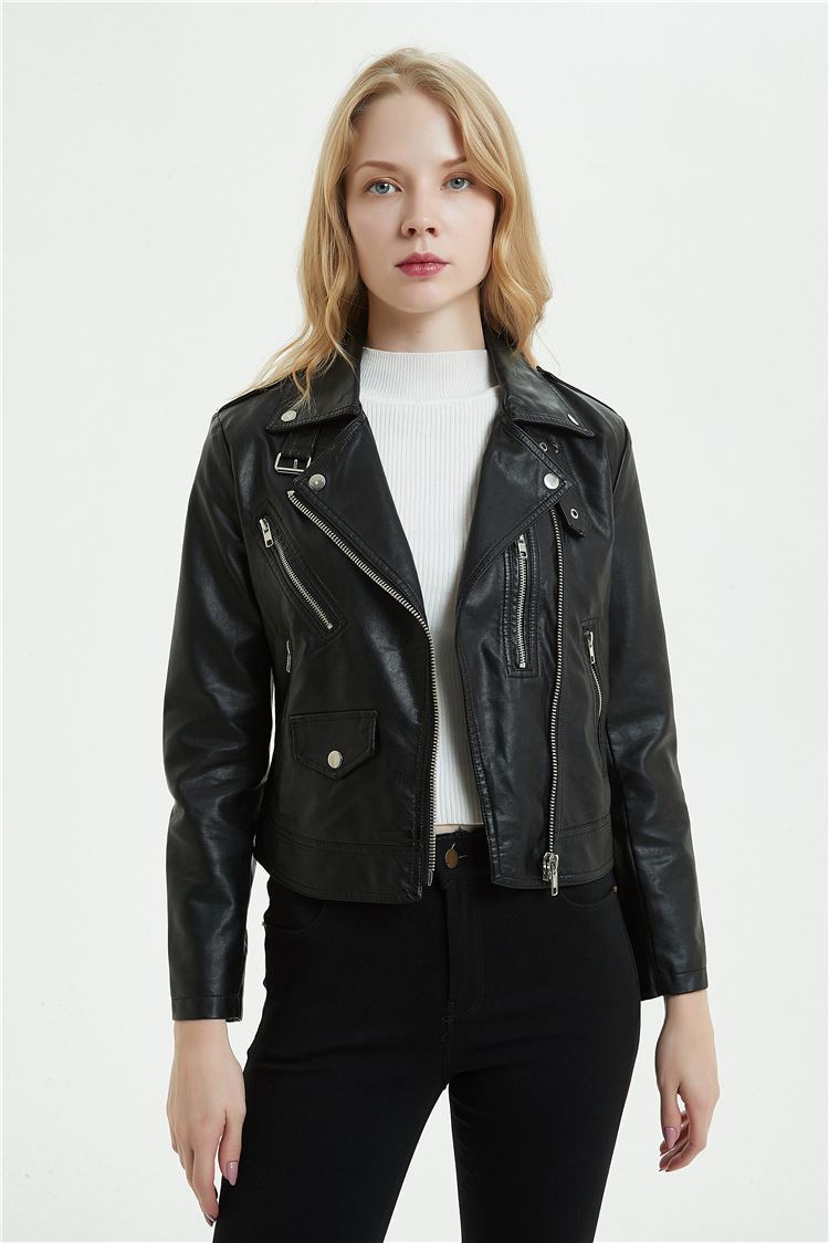 2019 New Fashion Women Autumn Winter Black Faux   Leather   Jackets Zipper Basic Coat Turn-down Buckle Collar Biker Jacket