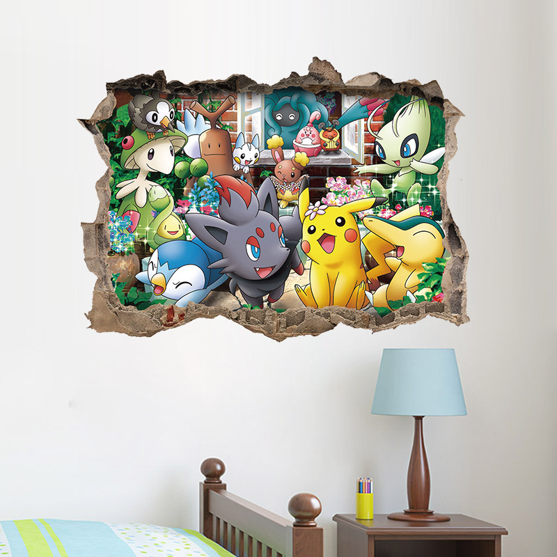 Cartoon Game Pikachu Pokemon Go Wall Stickers For Kids Rooms Childrens Gift Wall Decals Poster Nursery Room Decoration Mural