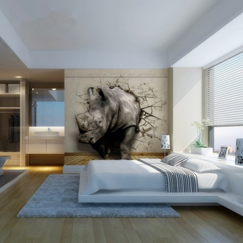Beibehang 3D Photo Wallpaper Realistic Animal Lying Rhino Lion Elephant Living Room Bedroom TV Background Wall In Wallpapers From Home