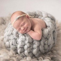 Handmade Honey Pot Finger Crochet Basket Nest Basket Prop Newborn Baby Photography Prop Photo Studio Prop Fotografia Accessories