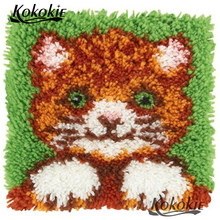Cross Stitch Merajut Karpet Bordir Sarung Bantal 3D Mat Set Menjahit Set Latch Hook Kit Karpet Tikar Kartun Kucing Pola Bantal(China)