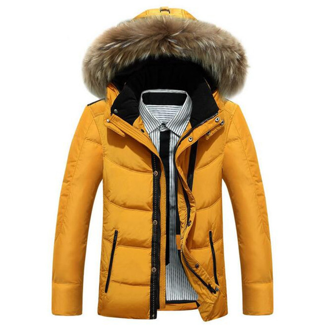 2016 Hot Sale Men Hooded Down Jacket Coat Thick Winter Parka Warm Duck Down Padded fox fur coller down parka