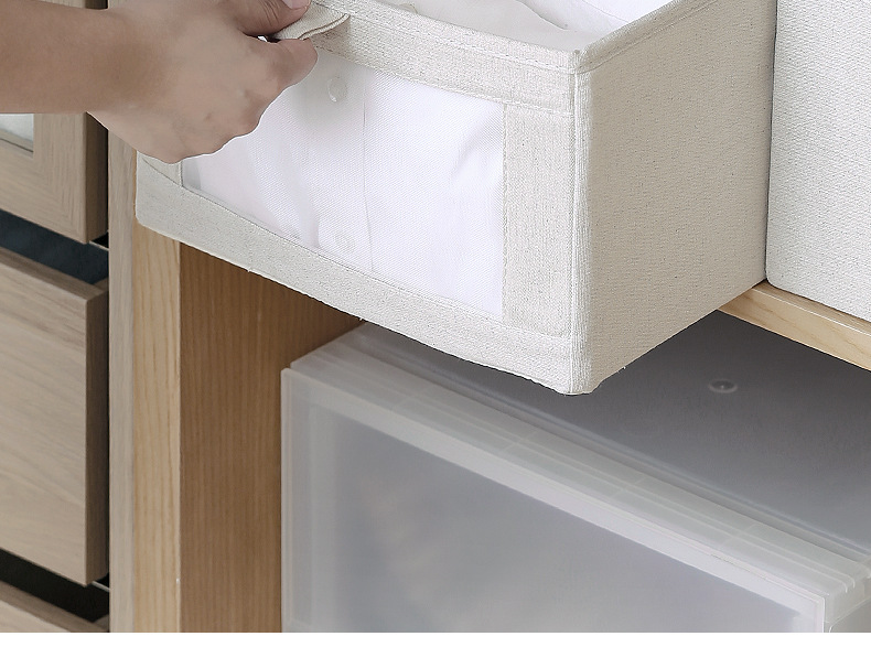 Everyfit Foldable Storage Box Clothes Cabinet Storage Bin Cotton Linen Wardrobe Sundries Organizer Container New in Storage Baskets from Home Garden