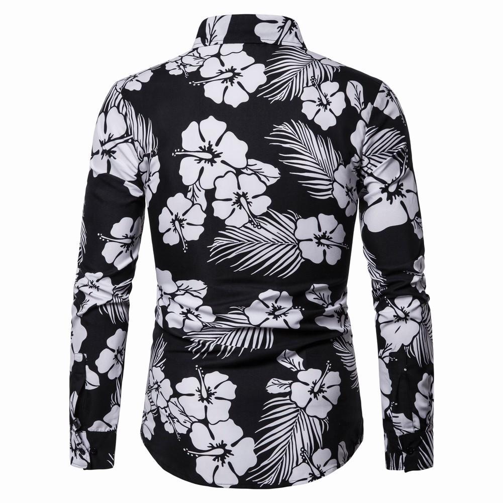 Casual Mens Dress Shirts Loose Beach Fashion Blouse Men 39 s Long sleeve Flower Men Shirt Hawaiian Camisa masculina in Casual Shirts from Men 39 s Clothing