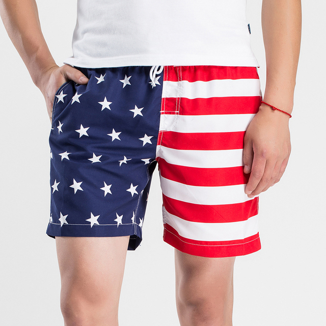 New Casual Stars Stripe Mens Shorts Beachwear Fashion Stretched Board Shorts Men Youths Men Beach Shorts (Asian Size) M-2XL