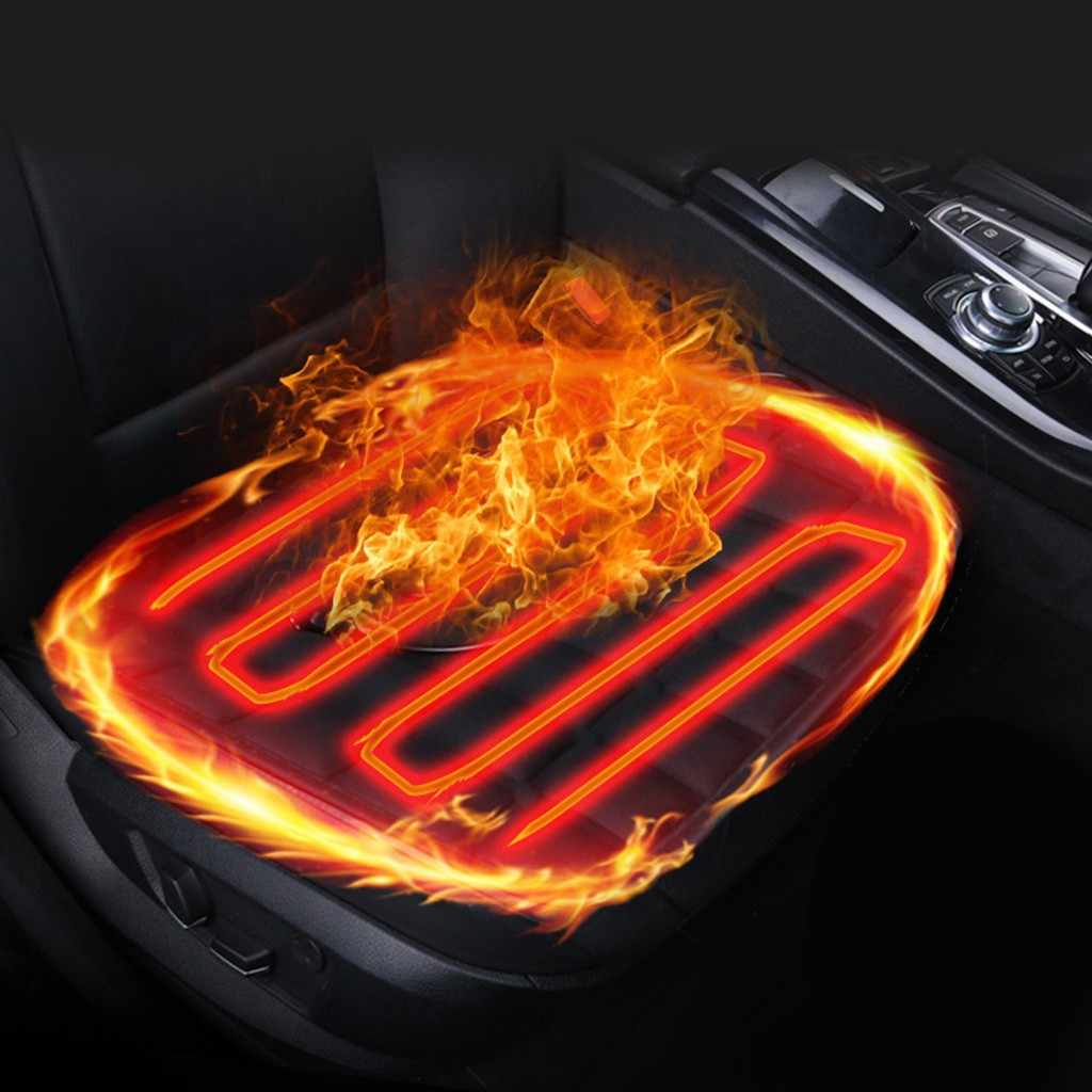 1pcs Heated Car Seat Cushion Cover Black Car Heated Seat Cushion Cover Auto 12V Heating Heater Warmer Pad Winter#y4