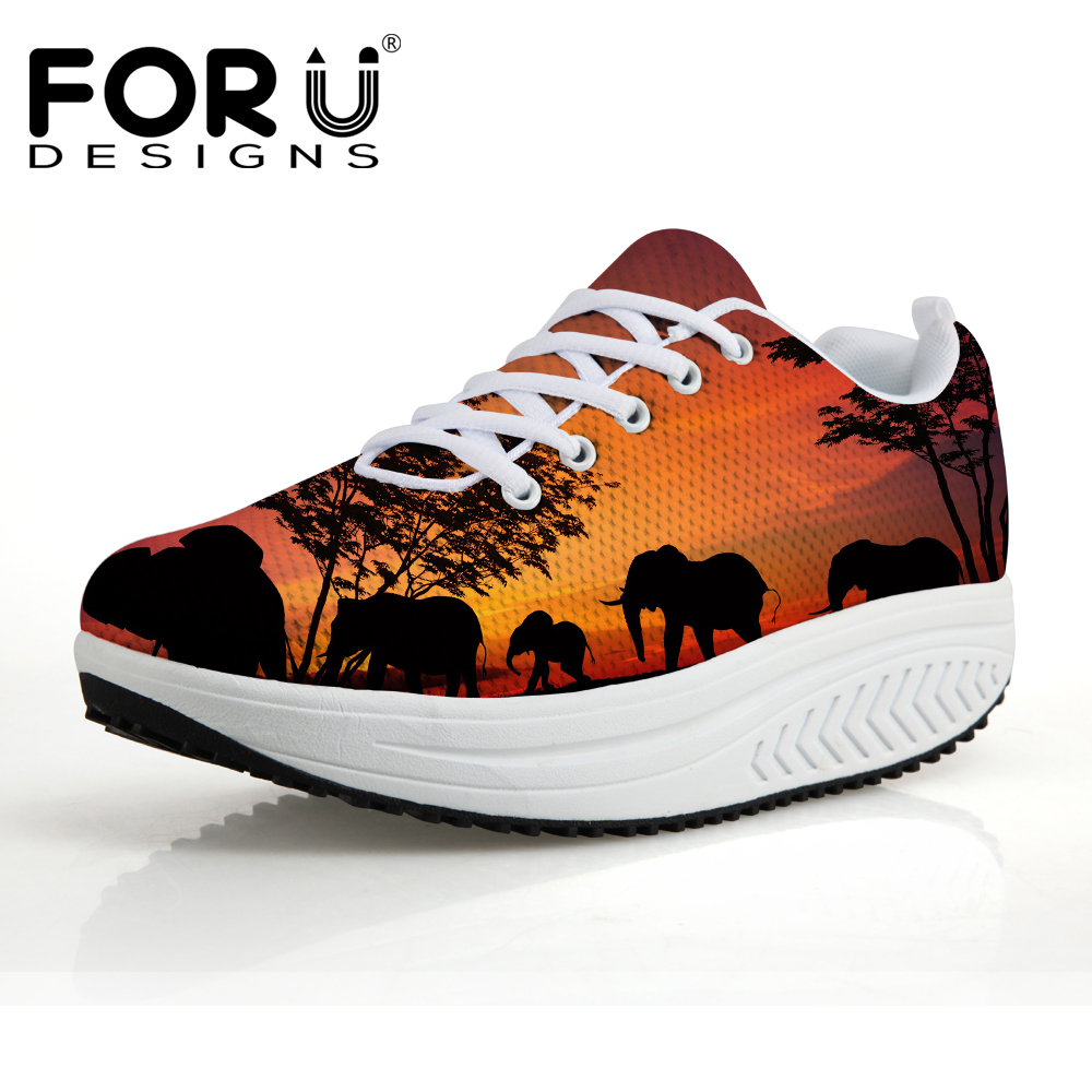FORUDESIGNS Height Increasing Platform Shoes Women Sunset Animal Printed Casual Swing Shoes for Ladies Woman Flats Shaps Ups forudesigns women casual wedge platform shoes 3d animal rabbit printed height increasing shoes shape ups for female swing shoes