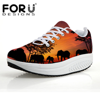 FORUDESIGNS Height Increasing Platform Shoes Women Sunset Animal Printed Casual Swing Shoes for Ladies Woman Flats Shaps Ups