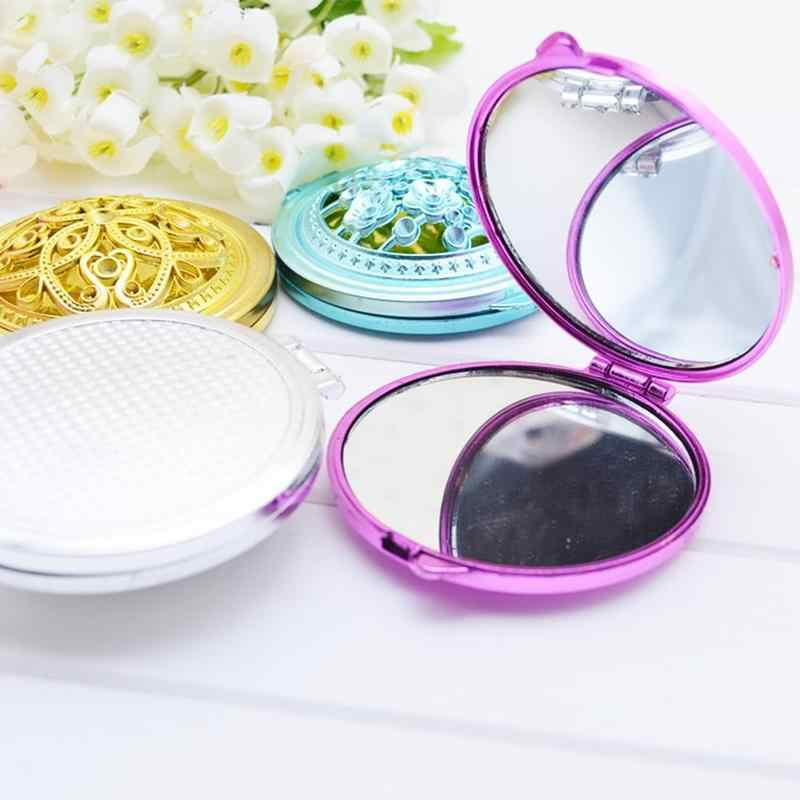 Korea Pocket Makeup Mirror Hollow Out Portable Mini Pocket Makeup Mirrors Double Folded-Side Random Color For Girls Small Mirror