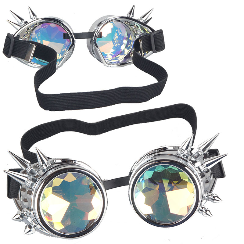 Rivet Black Silver Vintage Steampunk Goggles and Elastic Band