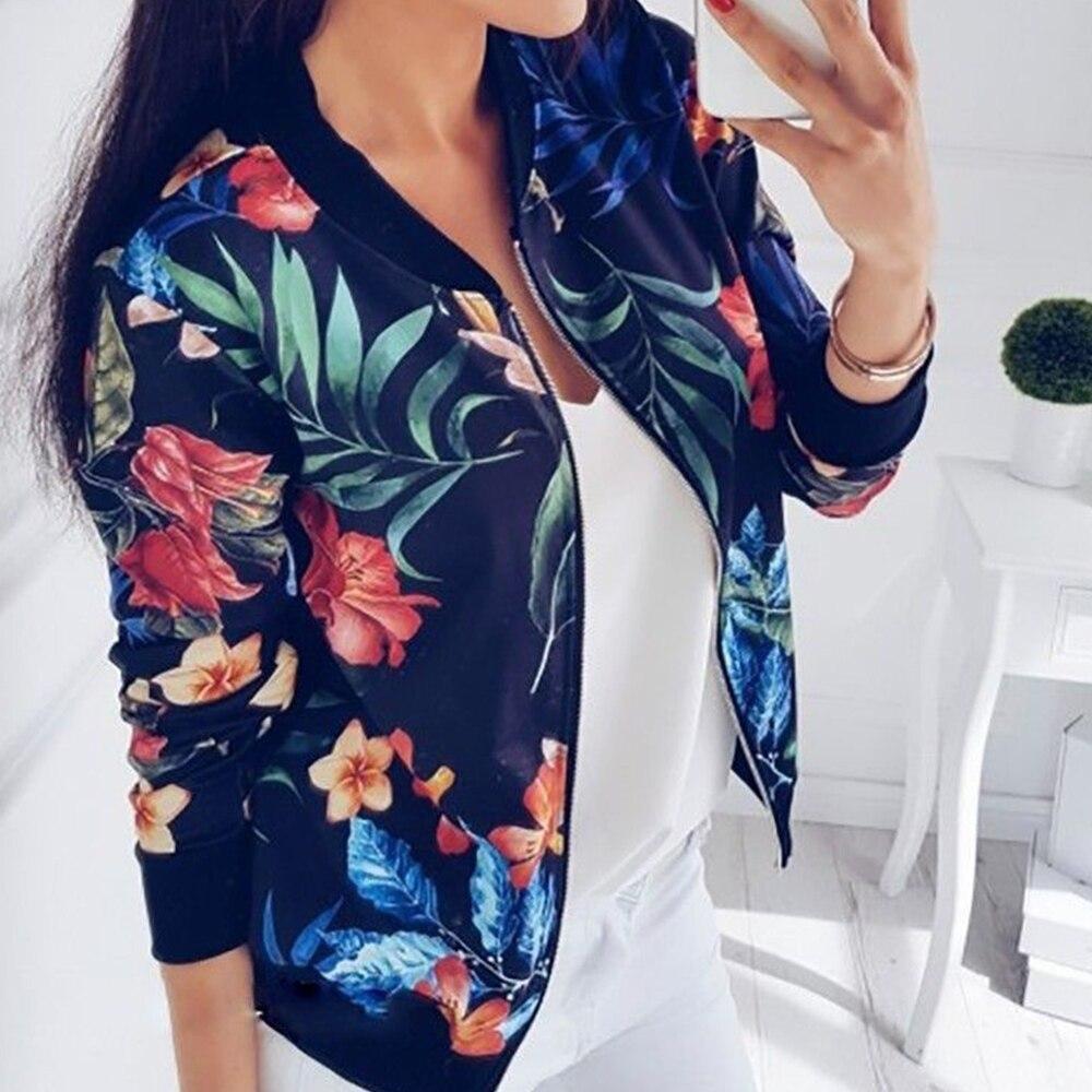 Women Floral Jackets 2019 Fashion Flower Print Zipper Bomber Jacket Casual Retro Long Sleeve Autumn Female Streetwear Outwear