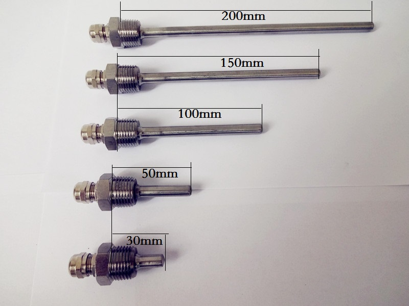 Thermowell. Length 30/50/100/150/200mm,Thread 1/2