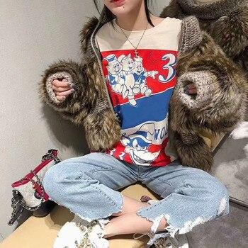 145959313e2c1 2019 High Quality New white pigs short-sleeved cotton T-shirt female