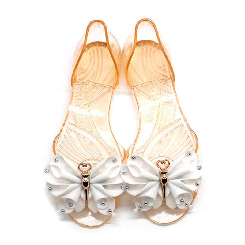 Yeni varış kadın ayakkabı tatlı kadın sandalet kristal şeffaf ayakkabı yay kadın sandalet daireler kaymaz Scarpe Donna jöle ayakkabı