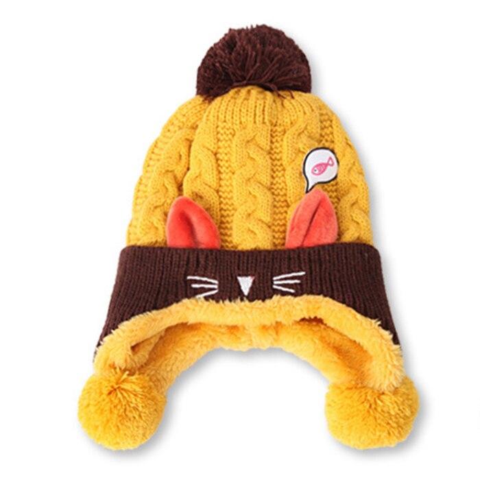 Fashion Kids Knitted Hat Cap Warm Ear Protect Crochet Winter Warm Children Winter Knitted Kids Brand Boy Girls Hat Casquette*