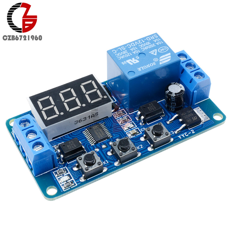 DC 10V-16V 12V Digital LED Display Trigger Cycle Timer Delay Relay Control Switch Borad With Optocoupler Isolated Multi-function 220vac digital time delay repeat cycle relay timer 1s 990h led display 8 pin panel installed dh48s s spdt