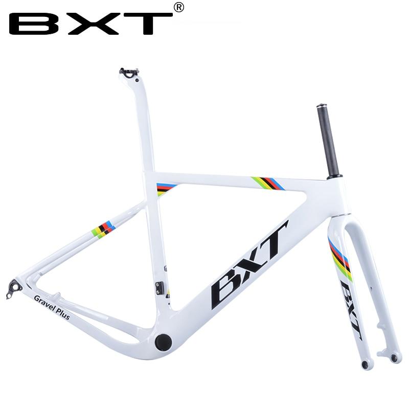 купить 2018 NEW BXT arrival Aero Road or MTB Bike Frame S/M/L size Cyclocross Frame Disc Bike Carbon Gravel frame thru axle по цене 44198.38 рублей