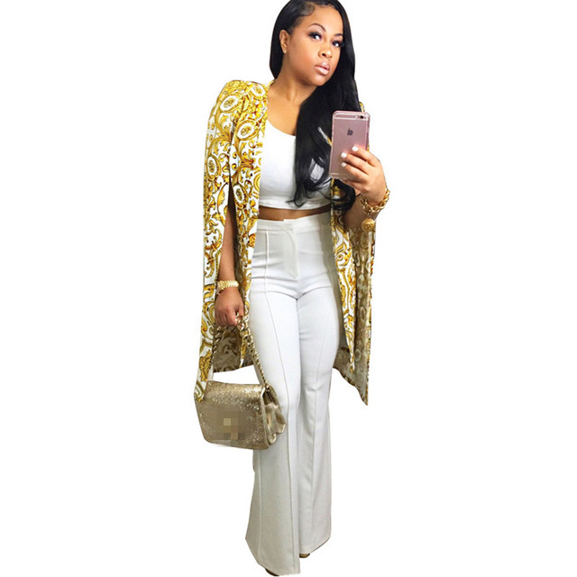 e8b157c1d0 Women Autumn Split Poncho OL Long Jacket Cloak Coat Blazer Suit Fashion  Golden Pattern Print Office Casual Cape Outerwear