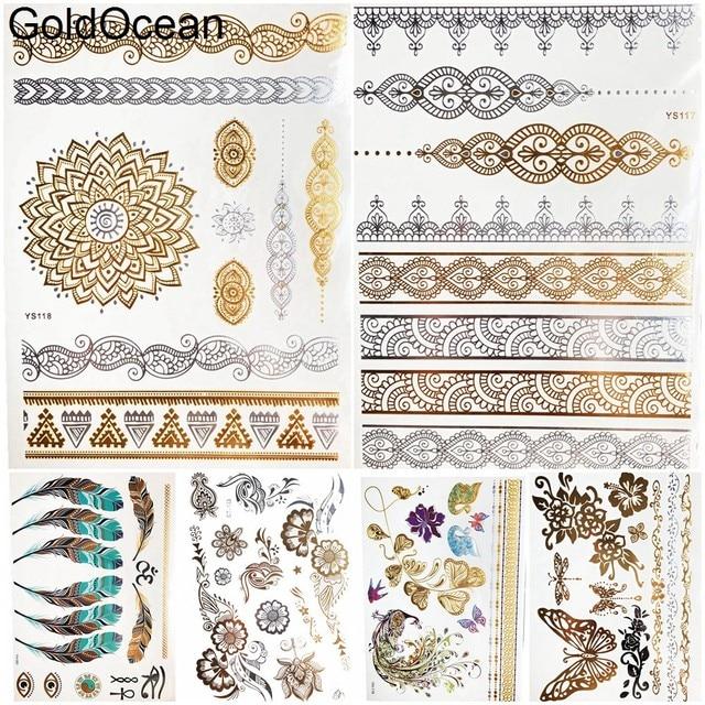 Henna Mandala Gold Metal Temporary Tattoo Bracelet Girl Body Arm Art