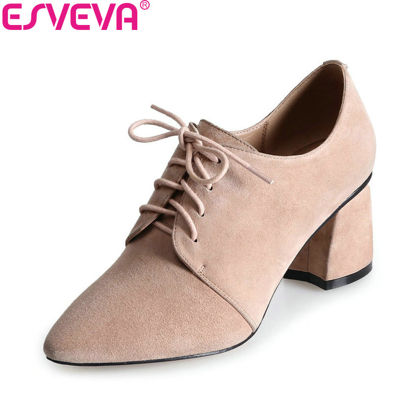 ESVEVA 2018 Casual Women Pumps Kid Suede PU Fashion Square High Heels Pointed Toe Lace Up Western Style Ladies Shoes Size 34-39 esveva 2017 new pointed toe pu women pumps lace up british style fashion shoes women spring square high heel pumps size 34 39