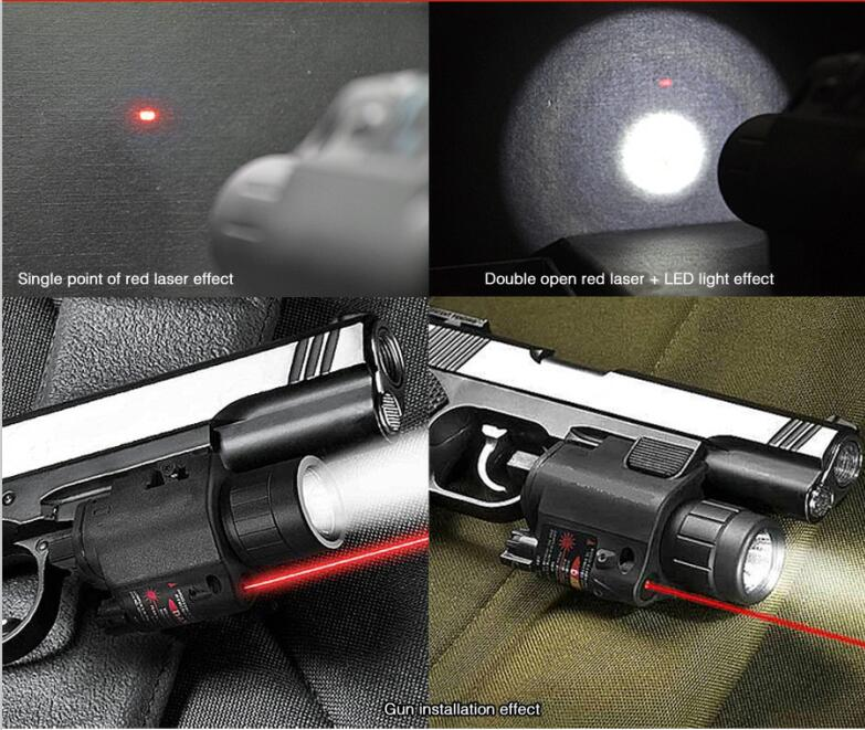 US $28 46 |200Lumens 2in1 M6 Tactical Hunting CREE LED Flashlight Torch  LIGHT + Red Laser Sight Combo for Shotgun Glock 17 19 22 20 23 31-in Weapon